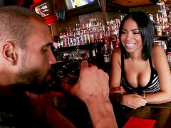 Slutty bartender Havana Ginger fucks right in a bar