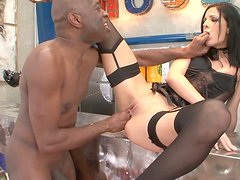 Provocative devil named Aliz gives sloppy and messy blowjob