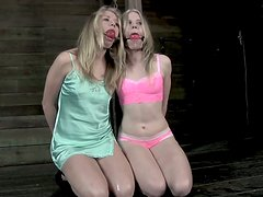 Two blondes in the cage. Sarah Jane Ceylon getting her body teased