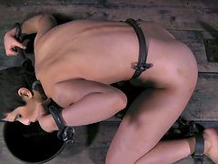 Brunette Marina in chains is waiting for the punishment