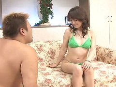 Touchy milk skinned Japanese Ai Himeno gets her pussy fondled with care