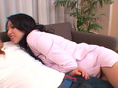 Amazingly seductive Japanese porn actress Ozawa Chris seduces the guy and blows his dick