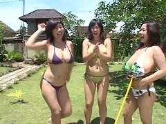 Incredibly busty Japanese hoe Fuko has fun with her girls