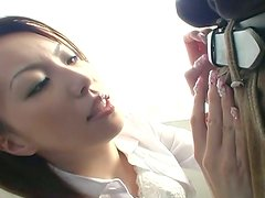 Beautiful Asian chick Tomoe Hinatsu masturbates with high powered dildo