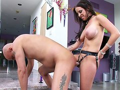 Brave Vin Deacon gets fucked by Brandy Aniston who uses a strapon