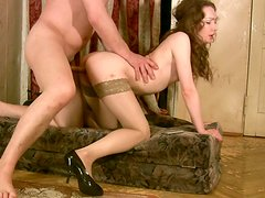 Curly brunette Osya is fucked doggy in a dirty ugly room