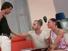 Oksana helps the guy to become bisexual and suck his friend's dick