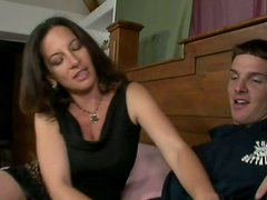 Horny brunette mom seduces young dude Scott Piper and gives him blowjob
