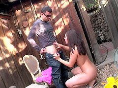 Cheap whores Audrianna Angel, Gracie Glam, Catalina Taylor fucking at the backyard