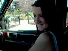 Nasty teen slut Madison Lace gives blowjob in the car