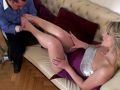 Always smiling blondie Eve Sweet is ready to provide a cock with a footjob