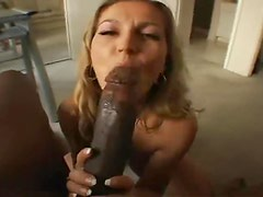 Horny housewife sucks black cock to get him off