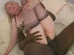 White lingerie milf with hairy vagina goes BBC