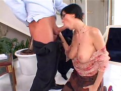 Ass banging a short-haired girl in stockings