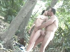Petite horny brunette Brenda Lins is willing to fuck in the jungle