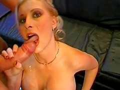 Slender blonde is getting tasty fat dick in her mouth