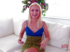 Young arousing innocent looking amateur blonde with small boobies and