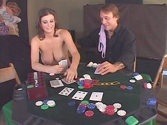 Loser in poker Sara Stone has to suck a delicious tool for cum