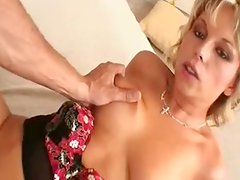 Cute Blonde sucks the oustanding private part and Squirts onto It While making love