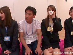 Japanese Office Lady Touched by a Bunch of People in Crazy Group Sex