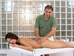 A special massage for a petite Spanish angel Sandra Rodriguez