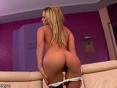 Aleska Diamond boasts of her cute butt and fingers her snatch