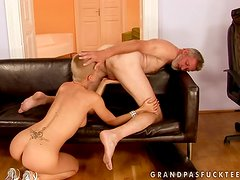 Bald whore Sinead seduces some old guy and rides his cock