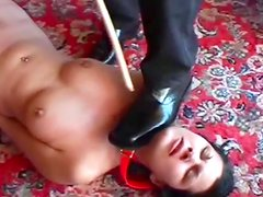 Brunette being masturbated by that officer