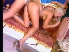 Hot blondes have group sex with anal