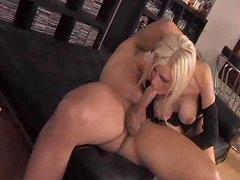 Skinny girl with amazing fake tits fucked