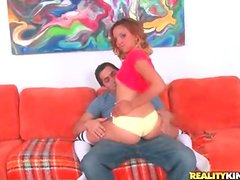 Chick in panties grinds in his lap