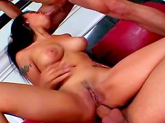 Naked babe is having double fuck