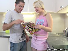 Insatiable blonde Marusya blows and gets her ass fucked in the kitchen