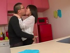 Hina the Japanese Housewife gives great blowjob in the kitchen