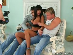 Lisa Rose can easily satisfy two guys. Find proof in this backstage clip