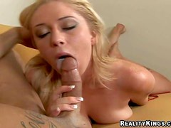 Adorable long haired blonde cutie with arousing make up and