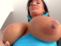 Attractive experienced dark haired pornstar milf Lisa Ann with enormous