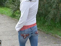 Sexy darkhead girl is teasing you stripping outdoor