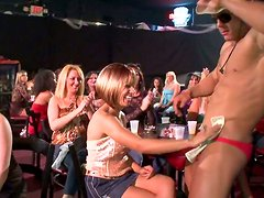 Real horny women are sucking strippers hard cock on the show
