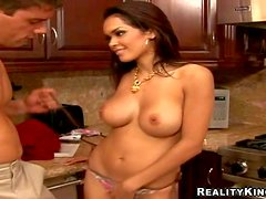 Adorable brunette bombshell Daisy Marie with big stunning hooters and