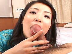 Cubby face MILF slut Yuri Amami is fucking passionately on cam