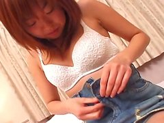Fresh faced Japanese cutie Haruka Sakal strips in sultry lingerie