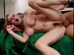 Fake tits girl rides him with her ass