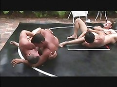 dads-n-lads wrestle-sex at pool