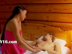 coeds threesome in an old cottage