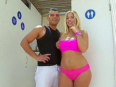 Outdoor scene with a horny babe Carol Ferrer who shows her body and a big ass