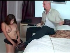 Tranny sucks his big cock deep and lustily