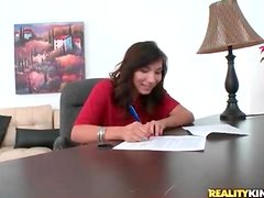 First time porn girl signs contract and gets naked
