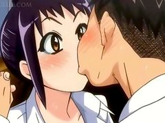 Horny anime teeny blowing and fucking giant cock
