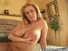 Divine blond milf wonders this dude with her skills